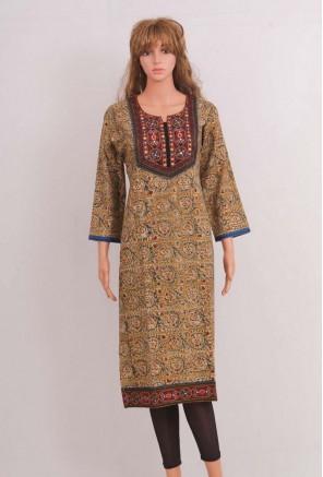 Cotton Embroidered kalamkari printed Kurti
