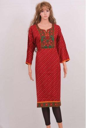 Rayon Embroidered bandhani printed Kurti