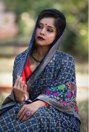 Banarasi Floral Kadwa Skirt jaal bandhani saree