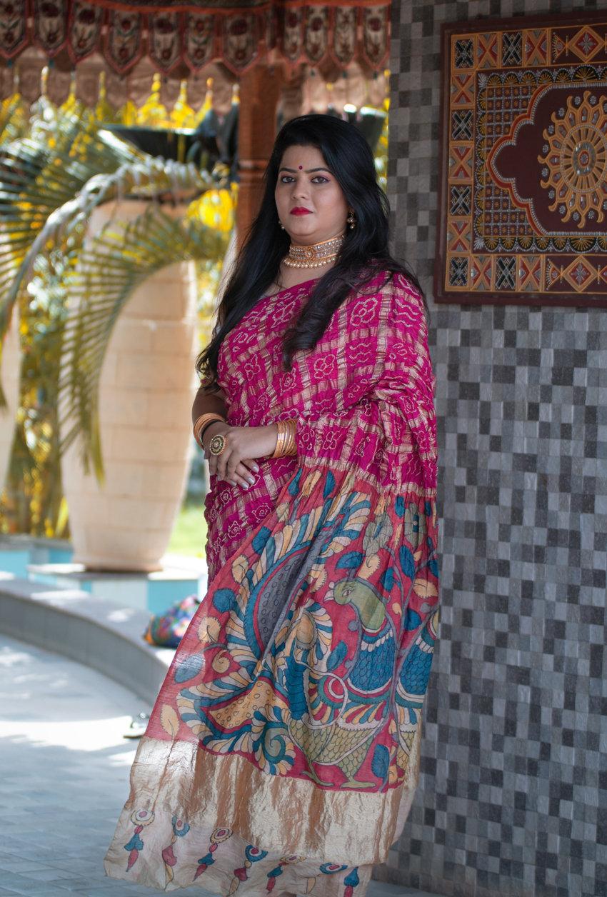Bandhani Kalamkari Gharchola saree