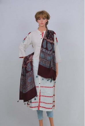 Ajrakh Modal Silk Stole