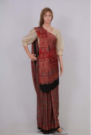 Ajrakh handblock printed modal silk saree