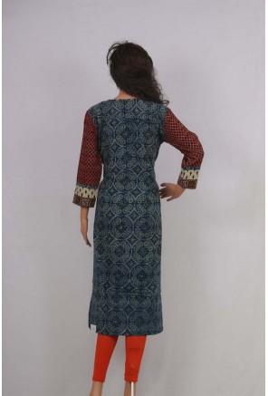 Cotton ajrakh printed kurti