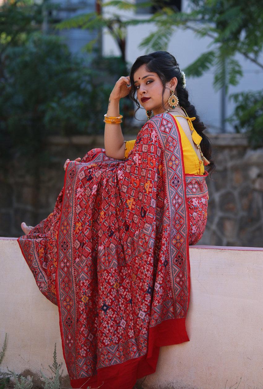 Banarasi bandhani tilfi patola saree