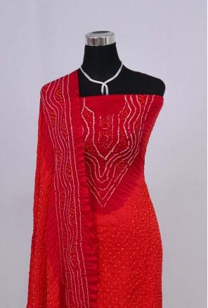 Gajji Silk Neck Design Tiny Bandhani Suit