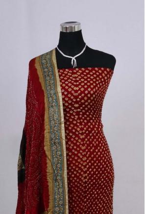 Gajji Silk Ajrakh Bandhani Suit