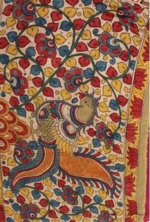Bandhani Saree with Hand Painted Kalamkari Pallu