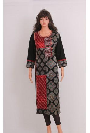 Ajrakh Mashru Silk designer kurti