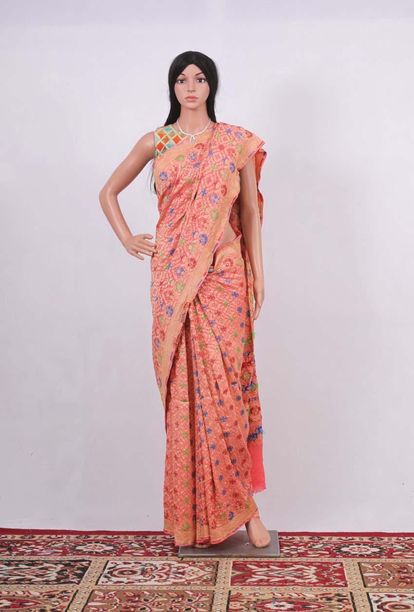 Pure Georgette Banarasi meenakari Bandhani Handloom Saree