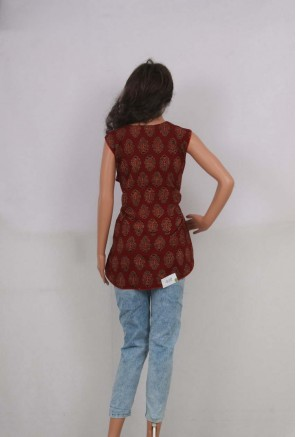 Cotton Ajrakh Designer short Kurti
