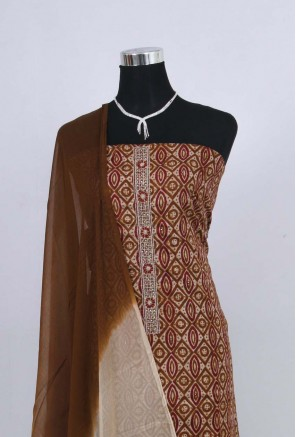 Cotton neck embroidery printed Unstitched Salwar Suit