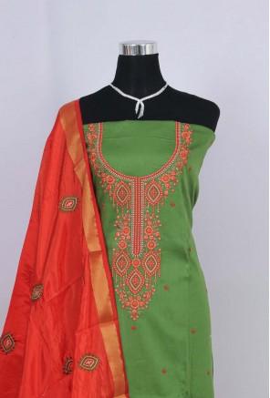 Cotton neck embroidery Unstitched Salwar Suit