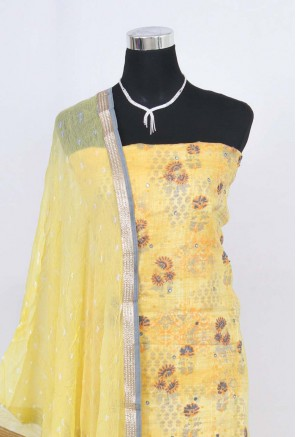 Chanderi Digital Printed Embroidery Unstitched Salwar Suit
