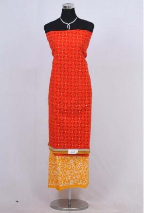 Cotton applique Unstitched Salwar Suit