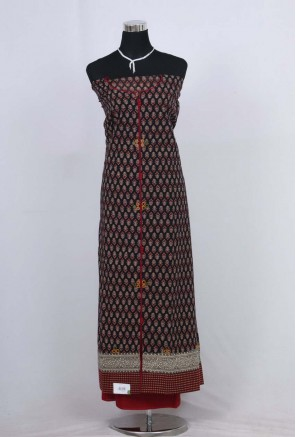 Cotton ajrakh with embroidery Unstitched Salwar Suit