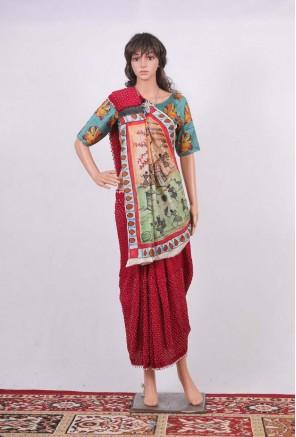 Bandhani Saree with Hand Painted Warli Pallu